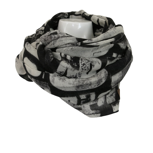 Verivinci scarf wool txt text black white why